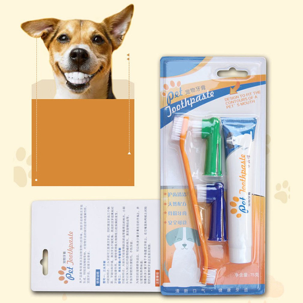 Pet Toothpaste Set Pet Soft Toothbrush Dog Oral Care Cats Dogs Toothbrush Toothpaste Set Pet Supplies image