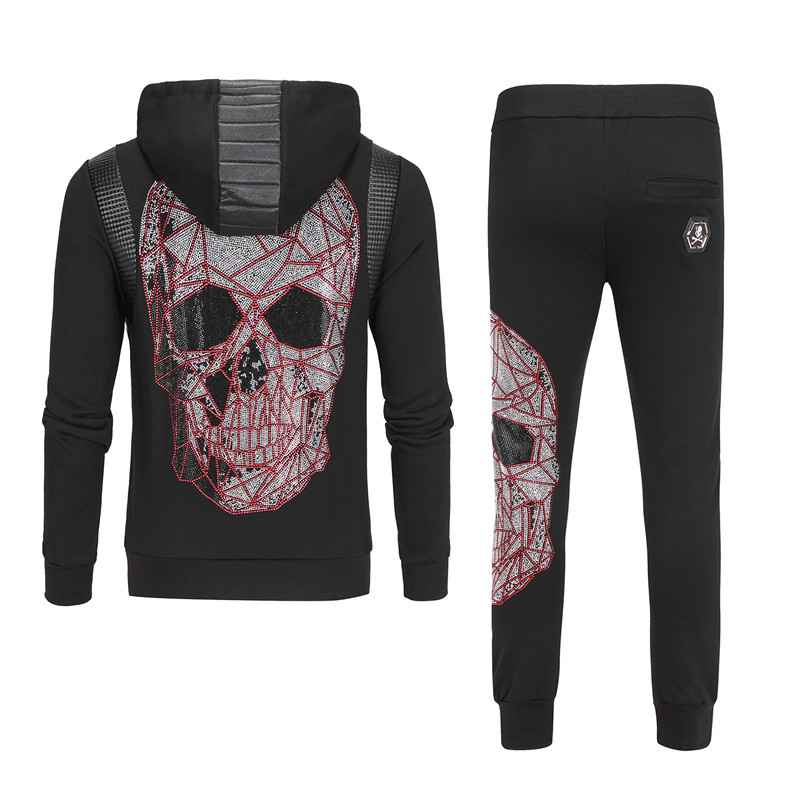 2019 Rhinestones Skull Mens Hoodies Sportswear Cotton Clothes Tracksuits Male Sweatshirts Coats Track Suits Joggers 2 Piece Set
