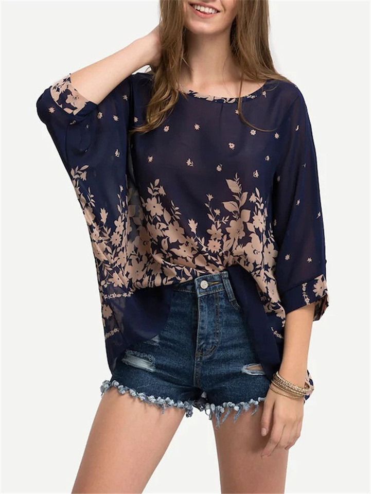 Bohemian Style Tops Print Smock Chiffon Blouse Batwing Sleeve Shirts Plus Size Women Clothing Tallas Grandes Mujer Chemise Femme Blouses Shirts Aliexpress