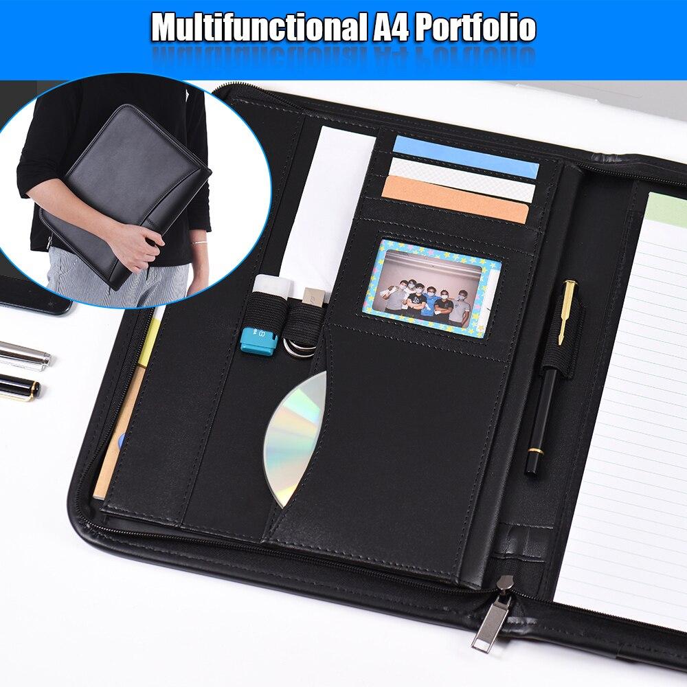 A4 plutônio couro escritório documento pasta multifunctiona carteira de negócios padfolio pasta fecho com zíper com cartão de visita