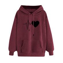 Ecg das mulheres impresso hoodies em forma de coração moletom casual manga longa topos com bolso imprimir camisola superior outwear #40