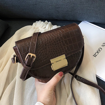 2020 Crocodile Pattern Vintage High Quality Leather Crossbody Saddle Bag