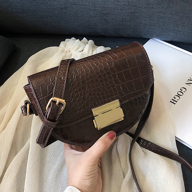 2020 Crocodile Pattern Vintage High Quality Leather Crossbody Saddle Bag