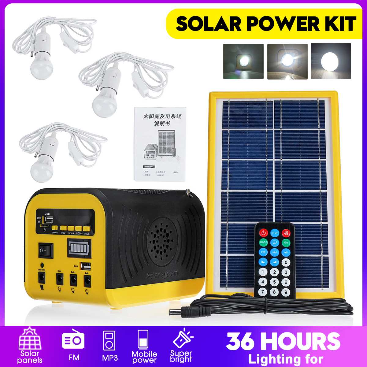 Solar Power Panel Generator Kit Bluetooth Speaker USB Charger Home System + 3 LED Bulbs For Outdoor Lighting Smartphone Charging