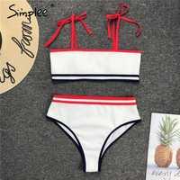 Simplee High waist women striped bikinis mujer Push up swimwear bathing suit biquini Summer beach wear Ribbed swimsuit female