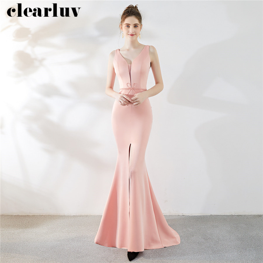 Long Evening Dresses Small Trailing Party Dresses For Women DX286-1 Plus Size Robe De Soiree 2020 Pink Sleeveless Evening Gowns