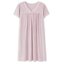 綿新エレガントな女性ドレッシング寝間着半袖ナイトガウンナイトウェア V ネック女性の自宅のドレス睡眠シャツ
