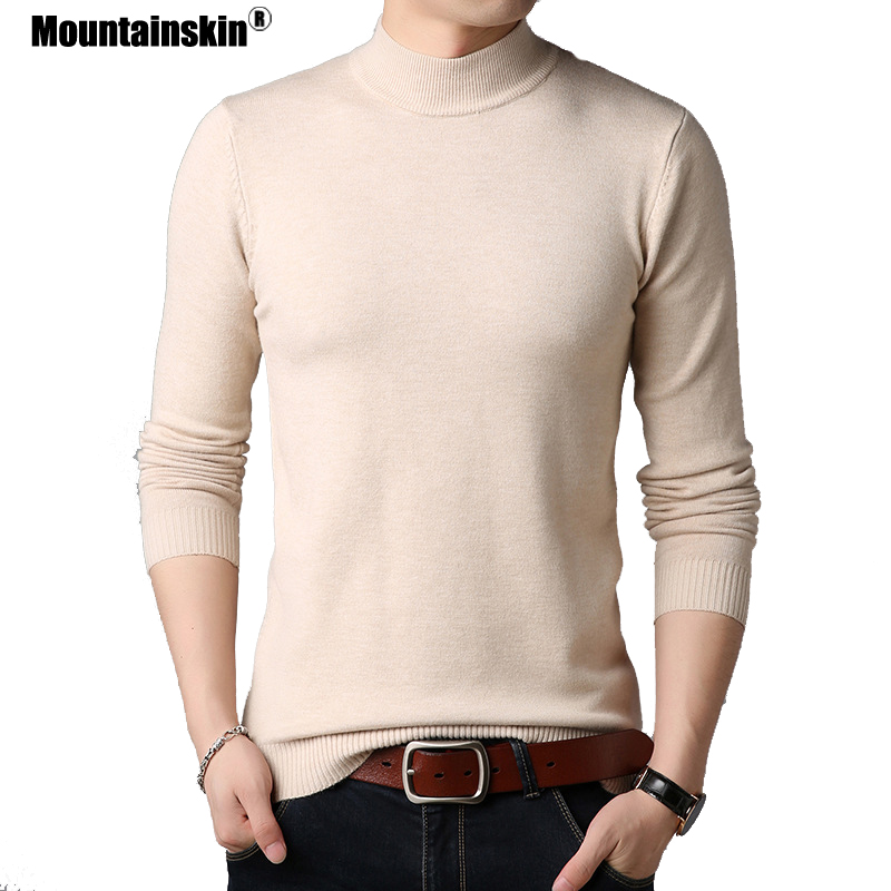 Mountainskin Men's Casual Knit Sweater 2019 New Solid Half-high Collar Wool Sweater Fashion Slim Fits Male Brand Clothing SA761