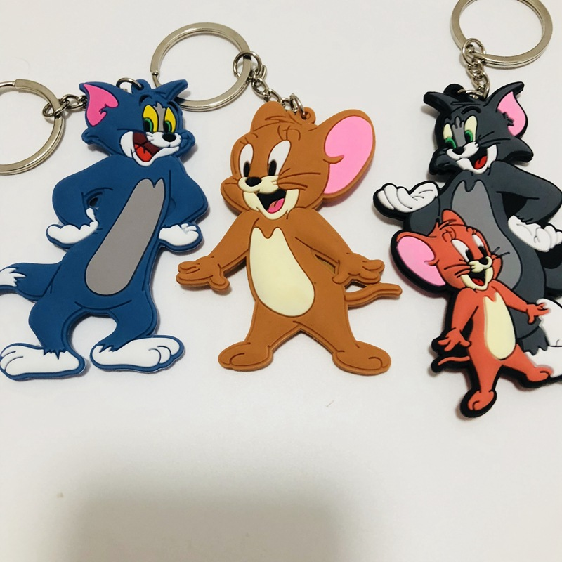 Occident Anime Tom And Jerry Key Chain Cosplay Cartoon Cat Mouse Animal Funny Cute Personality PVC Souvenir Fashion Keychain