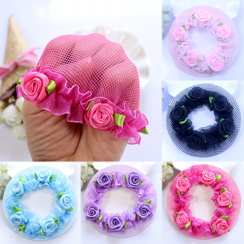 New Cute Flower Girls Bun Hair Nets Adjustable Kids 5 Colors Ballet Dance Grade Examination Elastic Hair-net Hair Accessories
