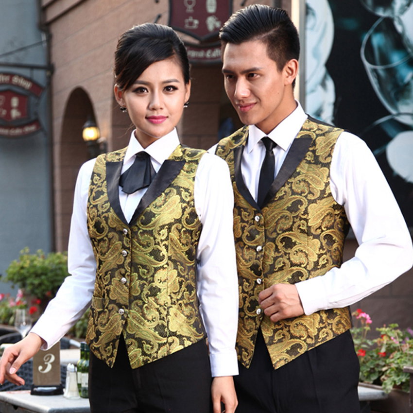 Unisex Pub Bar Wear Vest Worker Uniform Men Chef Costumes Embroidery Gold Vest Cook Clothes Women Waitress Restaurant Uniform