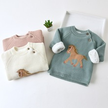 Teenster Winter Baby Girl Clothes Cartoo Horse Embroidery Sweater Cute Knit Fleece Thickened Warm Toddler Boys Outfits