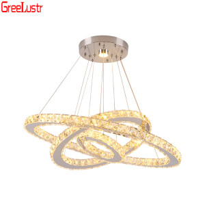 Image 5 - Luxury 3 Rings Crystal Chandeliers Stainless Steel Led Mordern Pendant Lamp Home Deco Hanging Lamp Suspension Luminaire Avize