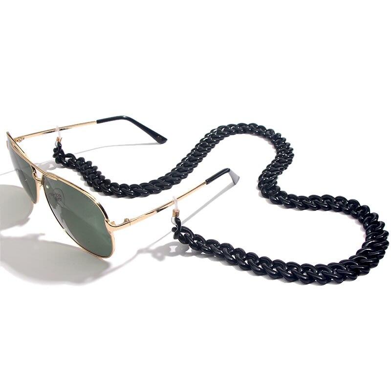 Flatfoosie модная акриловая цепочка для солнцезащитных очков цепочка для очков для чтения подвесной держатель для шеи ремешки с петлей аксессуары для очков 68 см - Цвет: 05BK