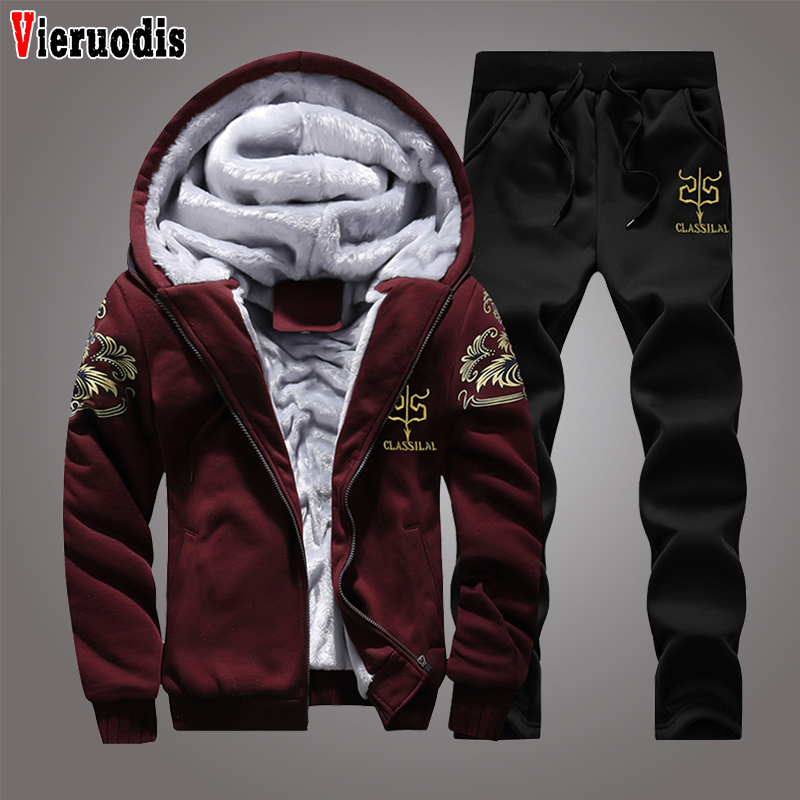 New Zipper Hooded Sweatshirt Sportswear Set Winter Tracksuits Male Hoodie Sporting Suits Men Set Thick Fleece Hoodies+Pants Suit