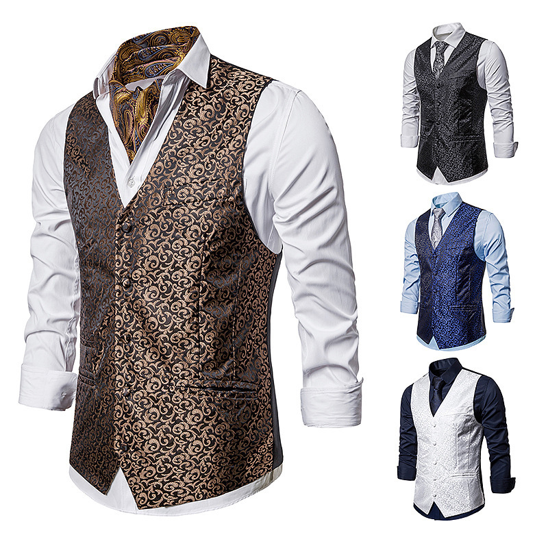 Mens Jacquard Vest Single Breasted Medieval Court Vest Waistcoat For Suit Or Opera Performance Clothing Gilet Homme