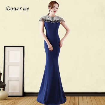 Crystal Beading Evening Dress GDX378 Solid Mermaid Party Gowns O-Neck Short Sleeve Robe De Soiree Navy Blue Formal Long Dresses