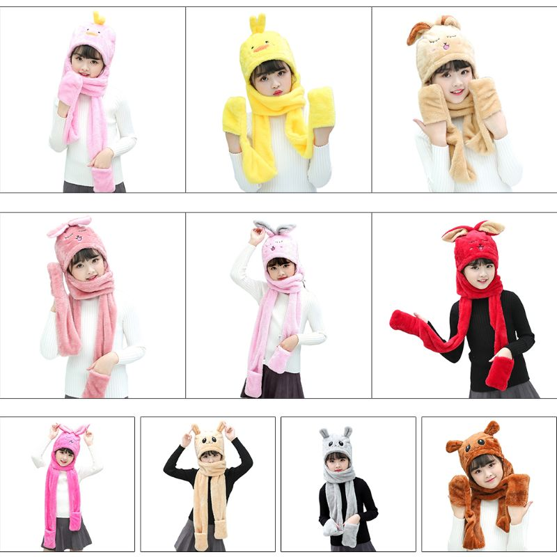 Unisex 3 In 1 Kids Scarf Hat Gloves Thick Plush Animal Pattern Hoodie Earflap 2XPC