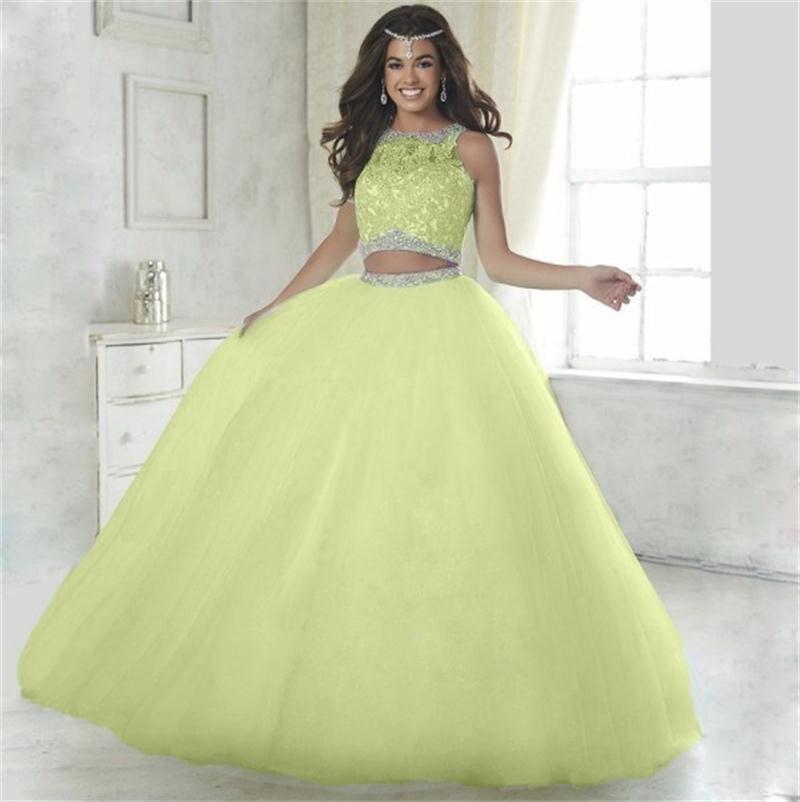 Cristaux de luxe Quinceanera robes robe de bal deux 2 pièces Sequin Tulle bal Debutante seize doux 16 robe vestidos de 15 anos