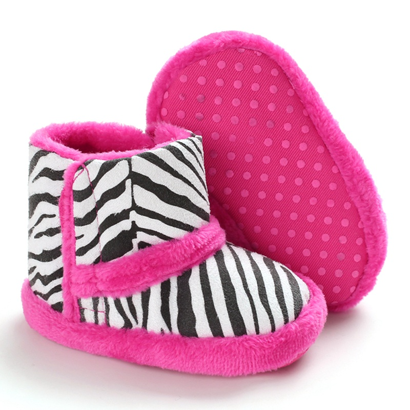 Winter Baby Boys Girls Shoes Warm Infants Shoes Faux Fur Girls Baby Booties Plus Zebra Striped  Baby Boots