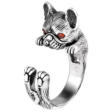 990 sterling silver retro personality animal female ring cute cute dog Thai silver open ring 925 sterling silver retro thai silver bulldog fierce dog ring fashion hip hop personality ring