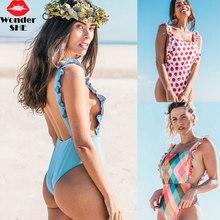 Ruffle One Piece Swimsuit Ruffle Shoulder Bikinis Women Monokini Thong Swimwear Backless Bodysuit Sexy Brazilian Bathing Suit ruffle detail backless swimsuit