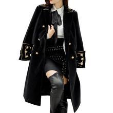 Двубортное шерстяное пальто в стиле милитари, британский стиль, для работы и бизнеса, корейское пальто, верхняя одежда, зимние женские пальто