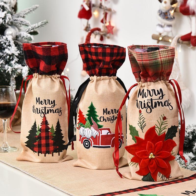 1Pcs 36x15cm Merry Christmas Wine Bottle Covers Bags Lovely Christmas Tree Flower Bottle Dust Cover New Year Dinner Table Decor