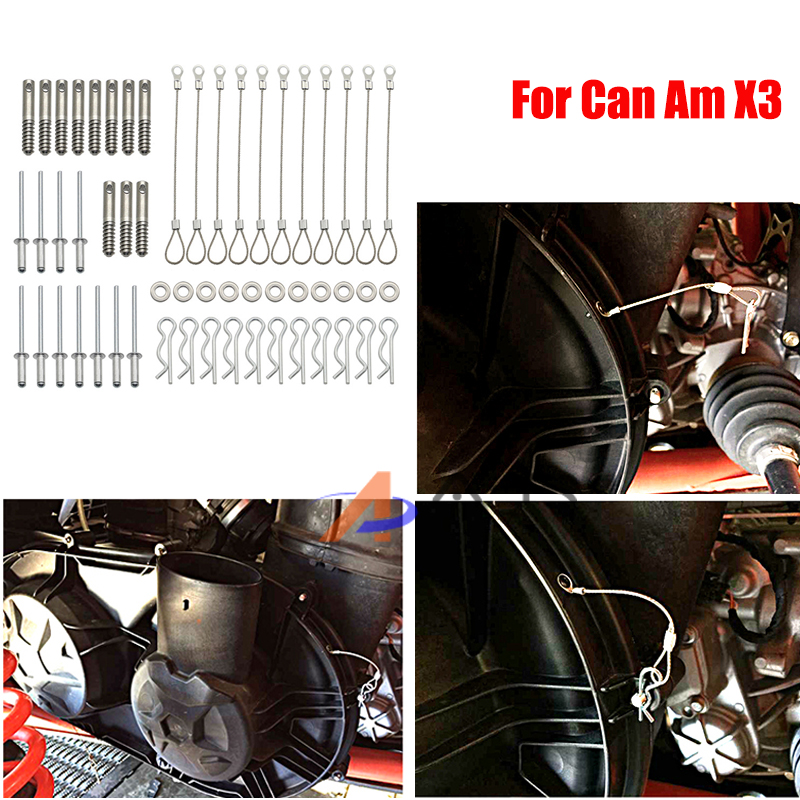 Full Set Clutch Cover Pin Kit Easy Belt Quick Release Belt Cover Kit Fastening Cables For 17-20 Can Am X3 ATV Quad