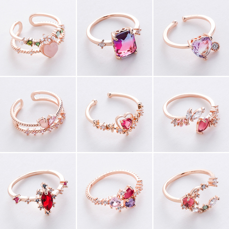 2020 Korean New Exquisite Crystal Temperament Ring Sweet French Elegant Flower Opening Ring Female Jewelry