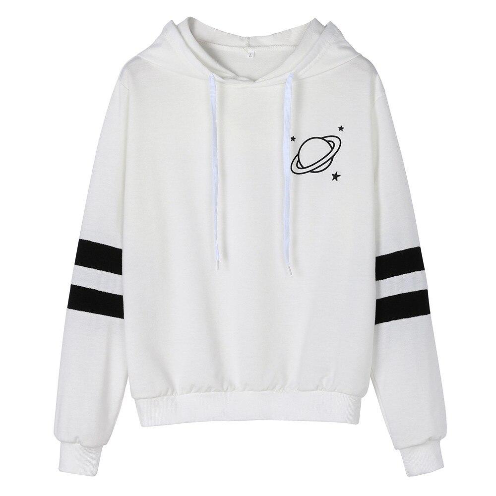 JAYCOSIN Fashion Womens Planet Printing Long Sleeve Hoodie Sweatshirt Casual Cool Chic Print Cute Hooded Pullover Tops Blouse