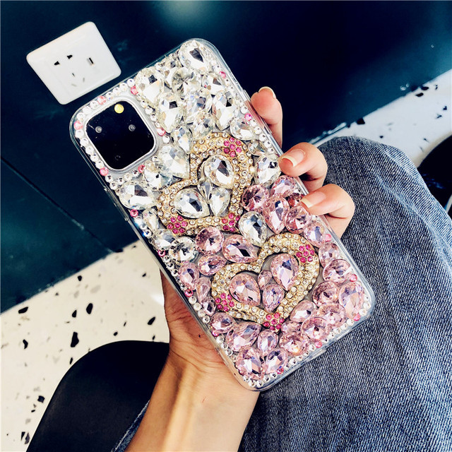 For iPhone 12 Cover Gradient Full Bling Crystal Diamond Love Heart Phone Case For iPhone 11 Pro Max XS XR X 8 7 6S Plus SE 2020