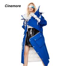 Cinemore 2020 damska kurtka puchowa długi odpinany hem wiatroszczelna wielofunkcyjny kontrast kolor wysokiej jakości płaszcz zimowy kobiet 82053 tanie tanio CN (pochodzenie) Zima WOMEN Stałe long High Street Kieszenie Osób w wieku 18-35 lat zipper Białe kaczki dół Pełna