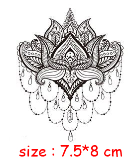 Temporary Waterproof tattoo sticker mandala flower necklace pattern hand back fake tatoo water transfer flash body art tatto 1