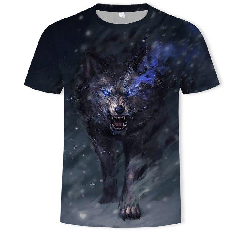 Summer Hot Ruthless Cool Wolf T Shirt Tops 3D Alone Animal Wolf T Shirt Short Sleeve Tops O-neck Streetwear Leisure T Shirt Men