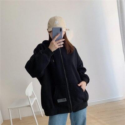 2020 WOMEN  NEW Winter New Plus Velvet Thick Cardigan Sweater Female Korean Solid Color Hooded Sweater Women