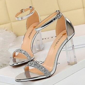 2021 Summer Crystal Sandals Bling thin Block Heels  1