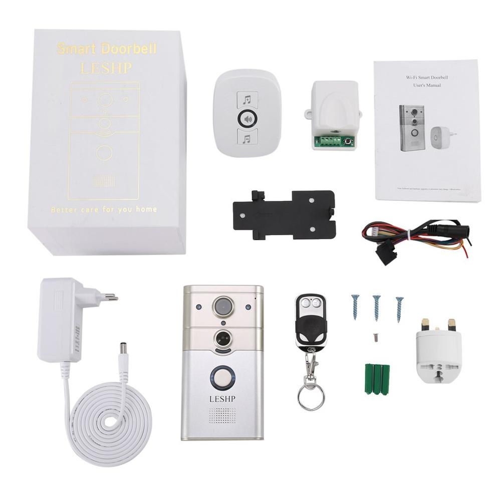 LESHP Wireless Remote Control Electronic Visible HD 720P Video Picture 1/4 COMS 1 Mega-Pixels 12V/1A Wi-Fi Smart Doorbell