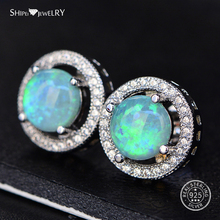 Shipei Opal Silver 925 Stud Earrings for Women 100% Sterling Round Wedding Party Birthday Gift