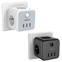 TESSAN USB Buchse Cube, Buchse Adapter 3 AC Outlets mit 3 USB Ports, 6 in 1 Mehrere Steckdosen mit Schalter USB Ladegerät für Büro