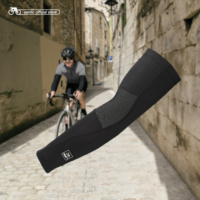 Santic Cycling Arm Warmers Winter Thermal Arm Sleeve Outdoor Sport Basketball Baseball Keep Warm Arm Sleeves Asia S XL W7C09072