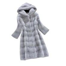 Women Jacket Winter New Faux Fur Coat Hooded Coat Elegant Female Long Fur Coat Women Coat Imitation Mink Fur Jacket шуба женская