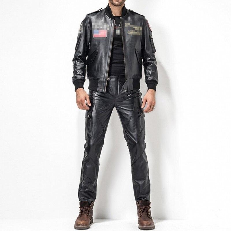 2020 New Pantalones De Hombre Calcas Plus Size 29-35 Fashion Leather Pants Motorcycle Pants Men Genuine Leather Straight Pants