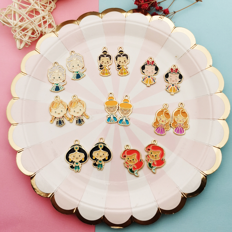 10pcs Metal Enamel Girls Charms Kawaii Princess Girls Pendants Making Earring Bracelet Floating Jewelry DIY Accessories Ornament