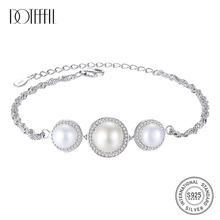 DOTEFFIL Genuine Natural Freshwater Pearl Bracelets Bangles For Women Three Large Pearls 925 Silver Bracelet Zircon Jewelry Gift doteffil genuine natural freshwater pearl bracelets fine jewelry bangles for women 6 7mm pearl oval 925 silver pearl clasps gift