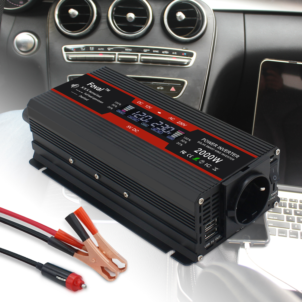 LCD display car inverter DC 12V to AC 220V 1500W 2000W 2600W charger transformador voltage converter EU socket auto accessories