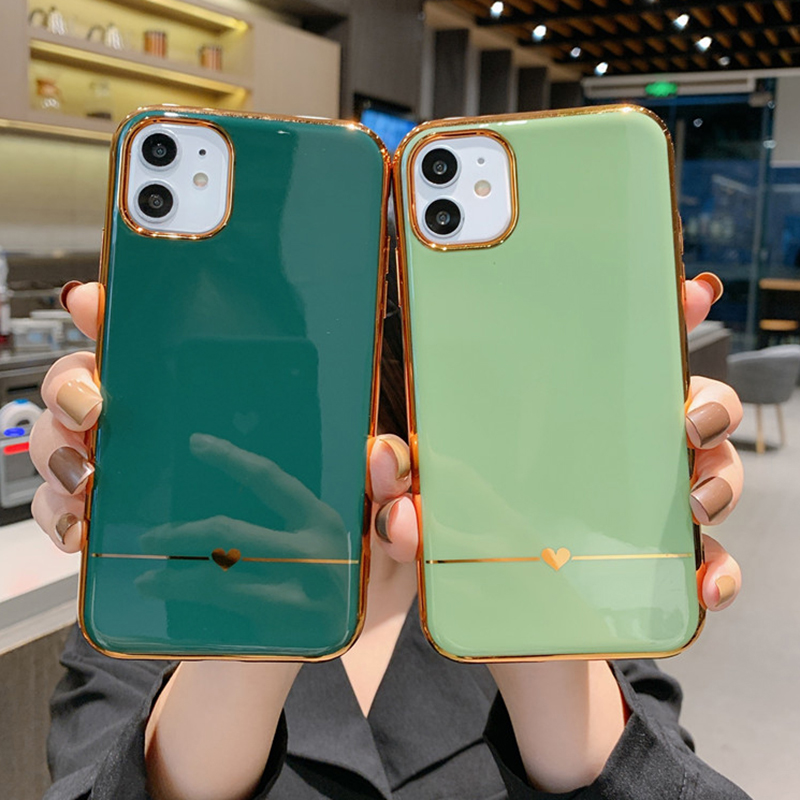 LOVECOM Electroplated Heart Phone Case For IPhone 11 Pro Max XR XS Max 7 8 6 6S Plus X Solid Color Soft TPU Back Cover Gifts