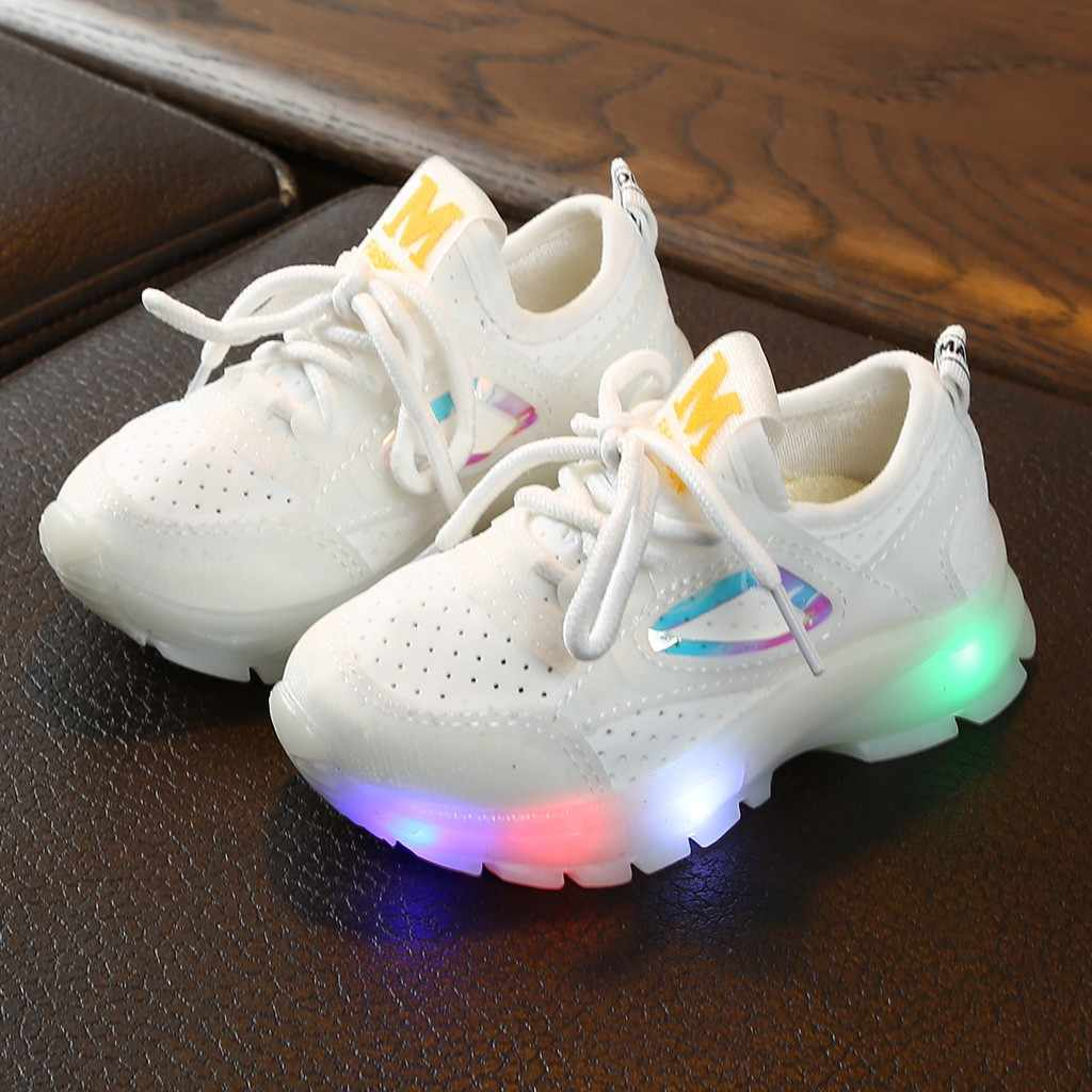 Children Baby Girls Boys Breathable Mesh Led Luminous Sport Run Sneakers Shoes Breathable Mesh Led Luminous Sport Run Sneakers