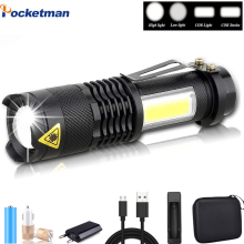 4000LM LED Super Bright Flashlight Q5 COB Portable Waterproof LED  Lamp Zoom Torch Penlight Use AA 14500 Battery Light Torch
