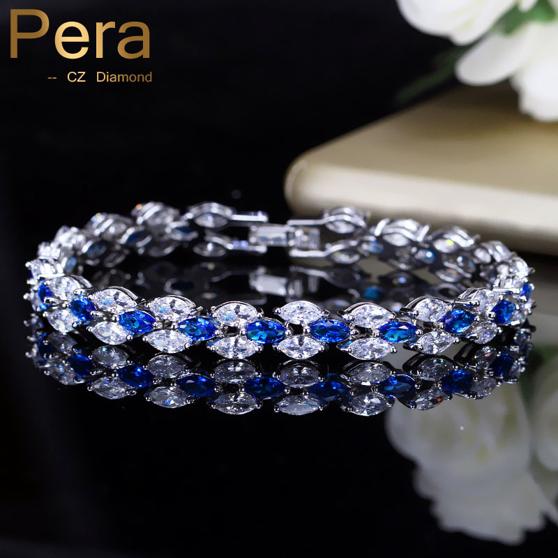 Pera Trendy Royal Tennis Prom Party Bracelets Big Marquise Blue Cubic Zirconia Stone Setting Silver Color Jewelry For Women B115